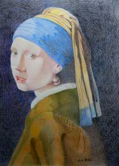 Girl with Pearl Earring a pencil crayon study By Boldy